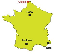 Location of Calais in France