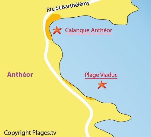 Carte de la calanque d'Anthéor à Agay
