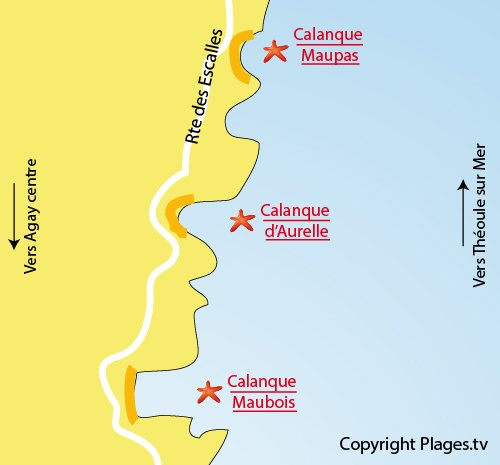 Map of Aurelle Calanque in Agay