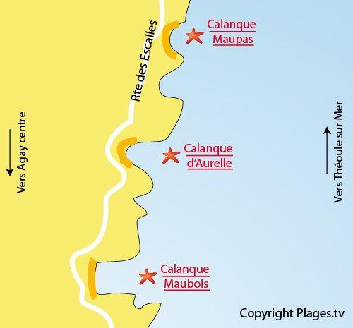 Mappa della calanque Aurelle a Agay