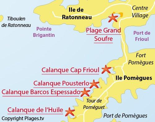 Plan de la calanque Barcos Espessado à Frioul
