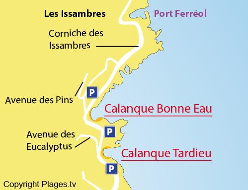 Mappa della Calanque Bonne Eau - Les Issambres - Var