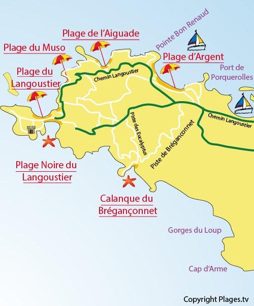Carte de la calanque de Brégançonnet à Porquerolles