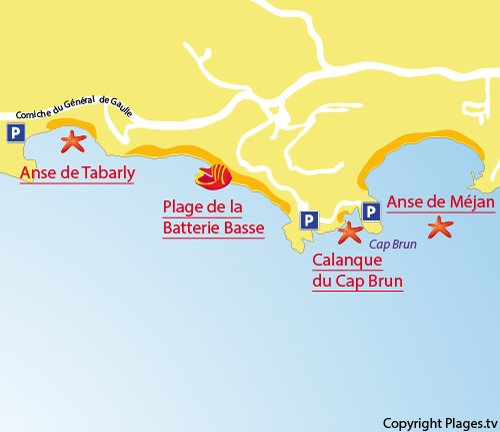 Map of Calanque Cap Brun in Toulon