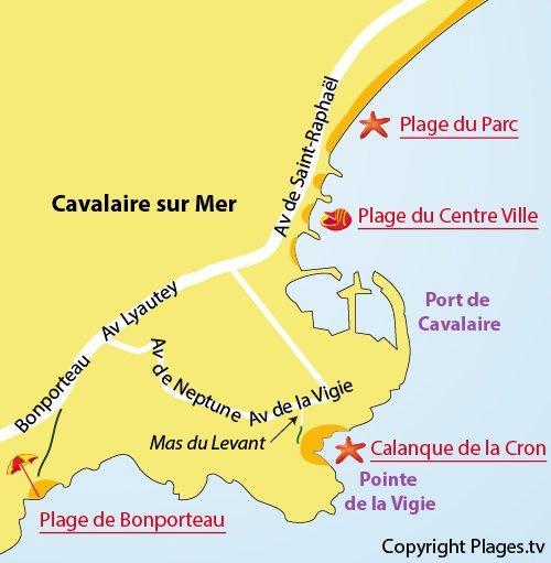 Plan de la calanque de Cavalaire dans le Var