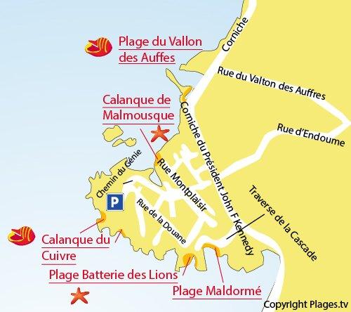 Mappa della Calanque du Cuivre a Marsiglia