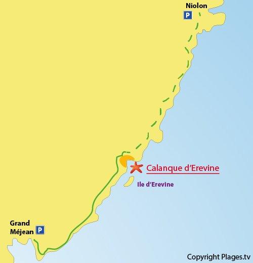 Plan de la calanque d'Erevine à Ensuès la redonne