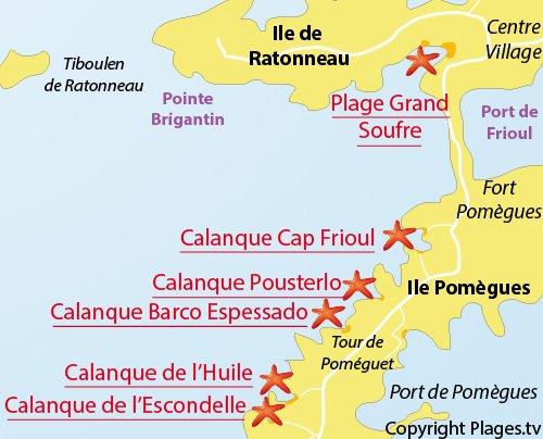 Map of Escondelle Calanque in Frioul