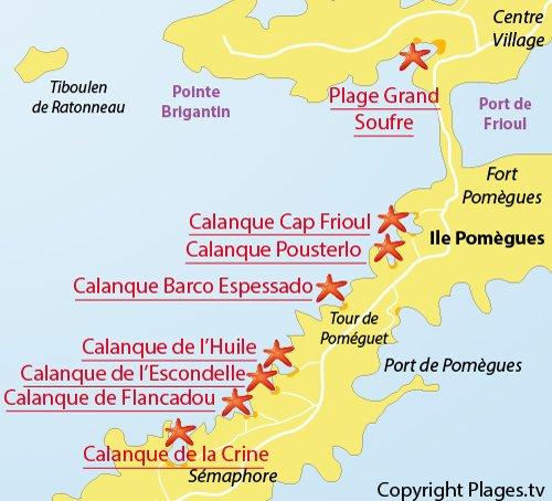 Carte de la calanque de Flancadou à Frioul