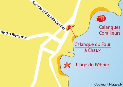 Map of the Four à Chaux Beach in Saint Aygulf