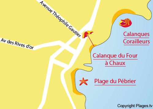 Carte de la calanque du four à Chaux à St Aygulf