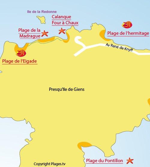 Map of Four à Chaux Beach in Hyères