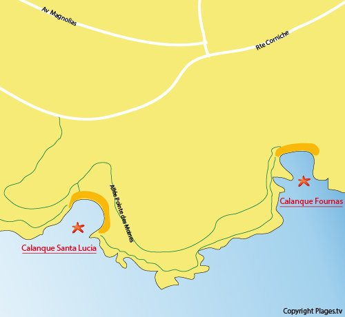 Map of Fournas Cove in Saint Raphael