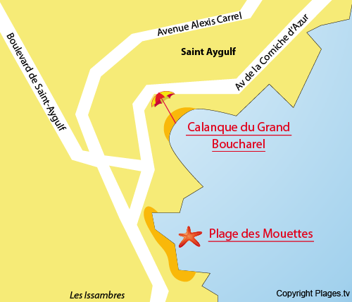 Map of Grand Boucharel Calanque in St Aygulf in France