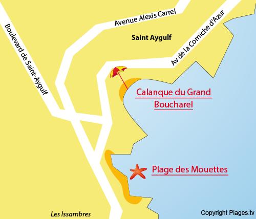 Carte de la calanque du Grand Boucharel de St Aygulf