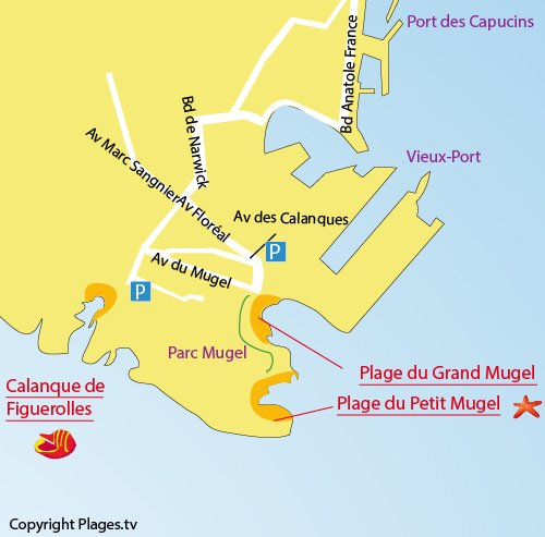 Map of the Grand Mugel Beach in La Ciotat