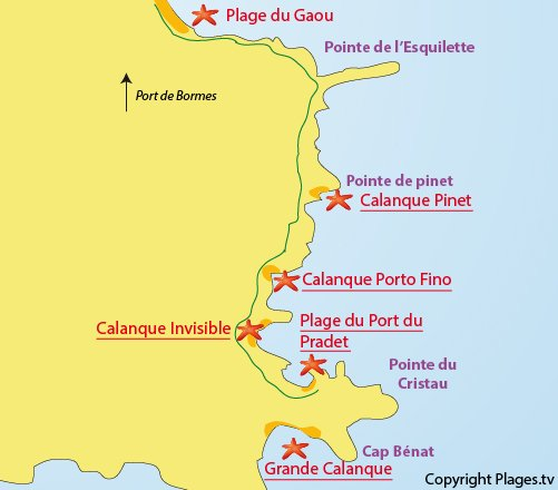 Map of the Invisible Beach in Bormes les Mimosas