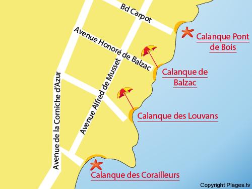Mappa della Calanque dei Louvans a St Aygulf
