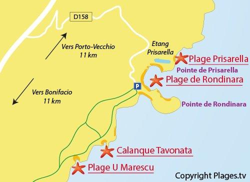 Mappa spiaggia di Marescu a Bonifacio