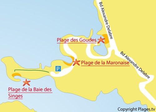 Carte de la calanque de la Maronaise à Marseille