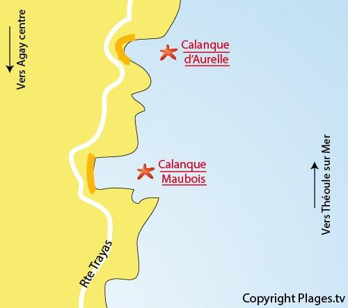 Carte de la calanque de Maubois à Agay