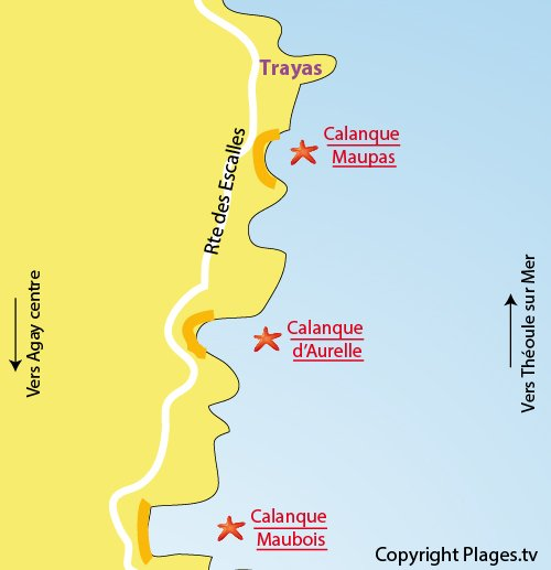 Map of Maupas Calanque in Agay