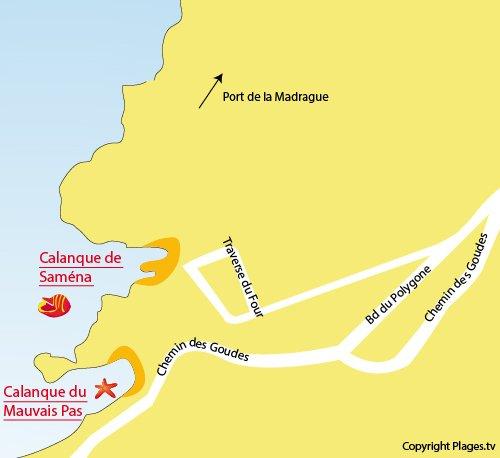 Plan de la calanque du Mauvais Pas à Marseille