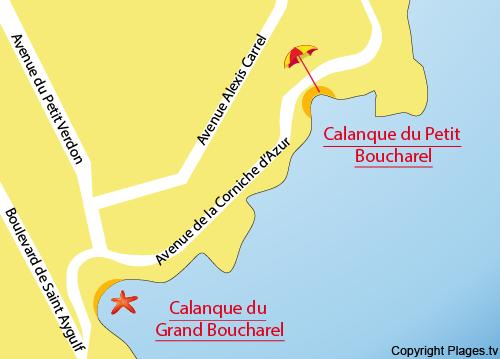 Mappa della Spiaggia del Petit Boucharel a St Aygulf