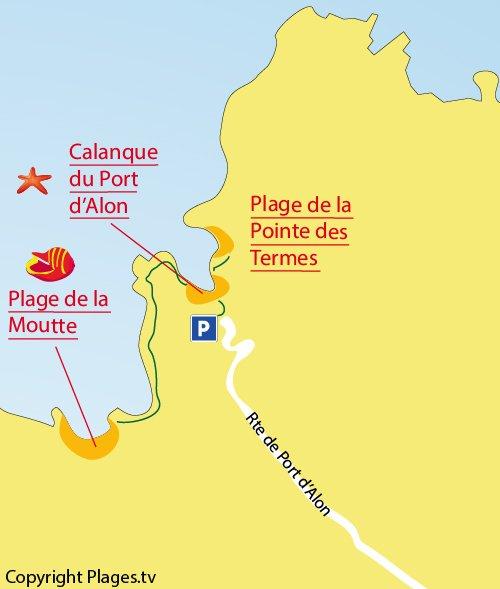 Plan de la calanque du Port d'Alon à St Cyr sur Mer