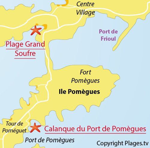 Map of Port Pomegues Calanque in Frioul