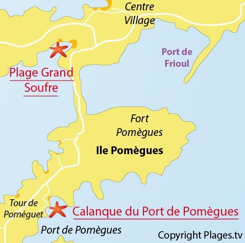 Plan de la plage dans la calanque du Port de Pomègues à Frioul