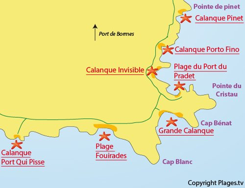 Map of the Port Qui Pisse Calanque in Bormes les Mimosas
