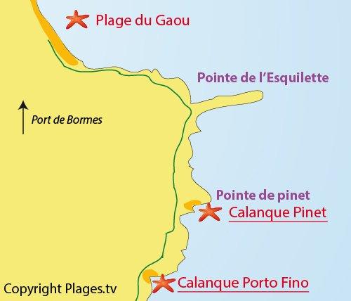 Carte de la calanque de Porto Fino à Bormes les Mimosas