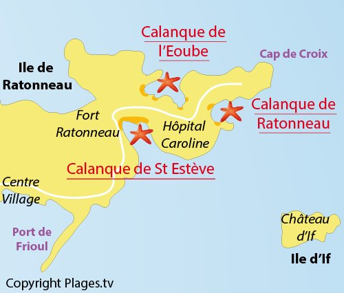 Map of Ratonneau Calanque in Frioul - Marseille