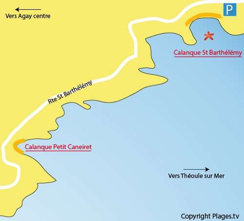 Map of Barthélémy Calanque in Agay
