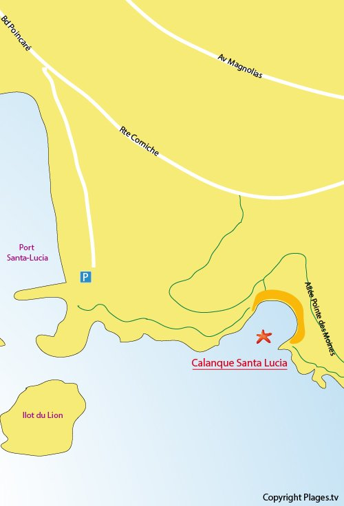 Plan de la calanque de Santa Lucia à St Raphael