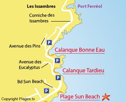 Mappa della Calanque Tardieu - Les Issambres - Francia