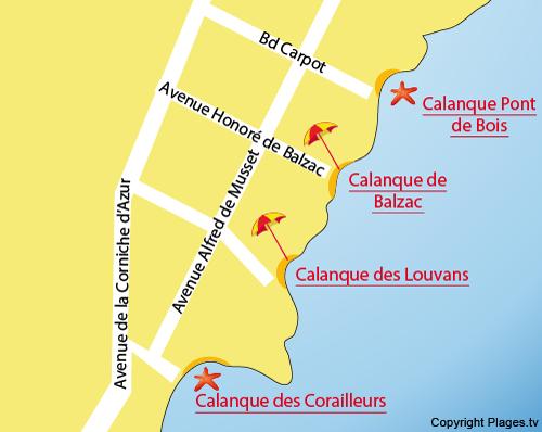 Mappa della Calanque Balzac a Saint Aygulf