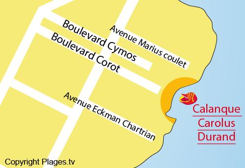 Carte de la calanque Carolus Durand à Saint Aygulf