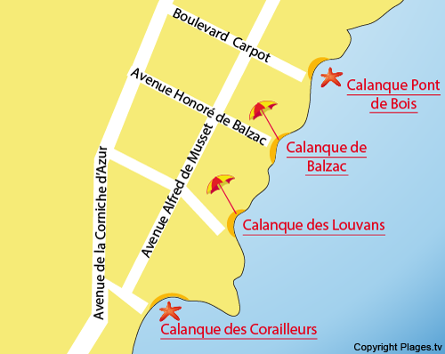 map of Corailleurs Beach in Saint Aygulf