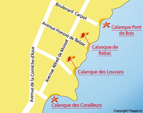 Karte Calanque Corailleurs von Saint Aygulf