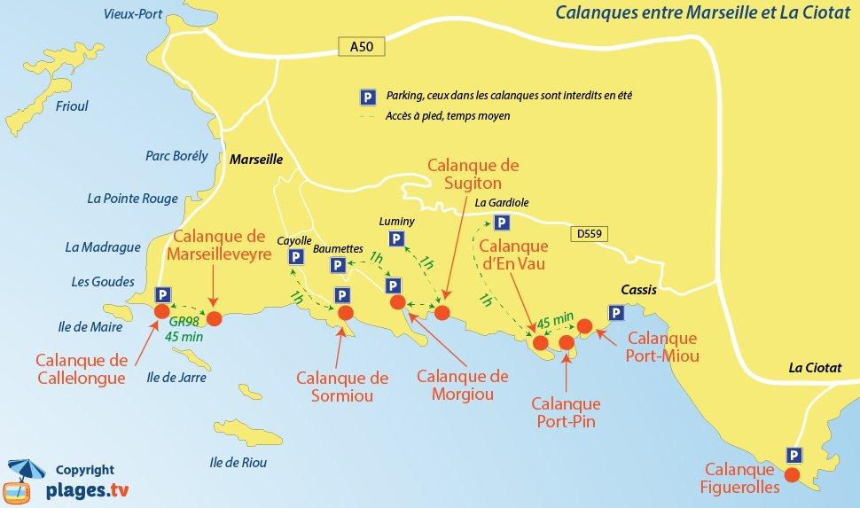 Carte des calanques de Marseille à La Ciotat en passant par Cassis