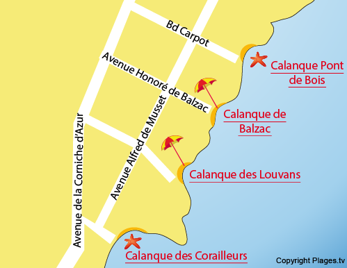 Map of the Pont de Bois Calanque in Saint-Aygulf