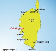 Location of Calcatoggio in Corsica