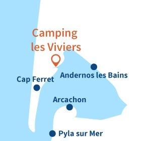 Carte du camping au bord du Bassin d'Arcachon au Cap Ferret