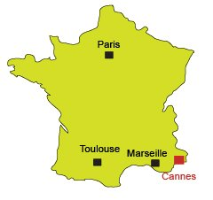 Location of Cannes in France
