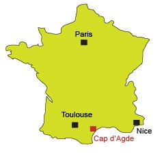 Location of Cap d'Agde in France
