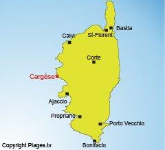 Map of Cargèse in Corsica