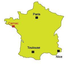 Localisation de Carnac en Bretagne