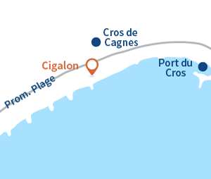 Map of Cigalon beach in Cagnes sur Mer - private beach and restaurant